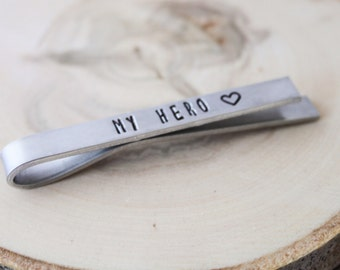 Tie Bar - My Hero - Gift for Dad- Gift for Husband - Stocking Stuffer