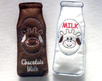 Felt Play food - milk and chocolate milk bottles - Pretend food - Imagination Play - great for kids play kitchen -  #PF2503