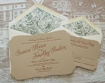 Letterpress Wedding Invitation DEPOSIT, Wedding Invitation, Bracket Wedding invitation, Shaped Wedding Invitation, Floral Wedding Invitation