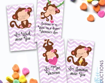 Go Bananas monkey Valentines cards - digital file