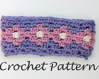 Granny Square Headband Crochet Pattern,  Stash Buster, Instant Download,  Ear Warmer Pattern, Adult, Child Sizes