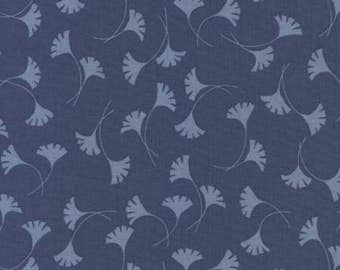 Cotton Fabric  Revive Timeless Treasures Art Nouveau Navy Gingko Leaves Sewing Crafting Material 1/2 yd cuts