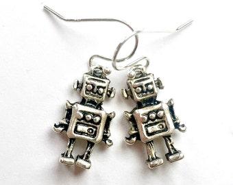Silver ROBOT Earrings, Pierced Silver Robot Earrings, Handmade Robot Earrings, Dangle Robot Earrings, Silver Wire Robot Earrings