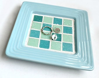 Aqua Ceramic Mosaic Ring Dish, Aqua Turquoise Mosaic Ring Keeper, Mosaic Key Catcher,Aqua Blue Mosaic Candle Stand Tray, Mosaic Jewelry Dish