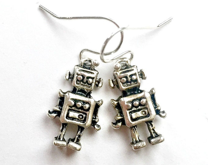 Silver ROBOT Earrings, Pierced Silver Robot Earrings, Handmade Robot Earrings, Dangle Robot Earrings, Silver Wire Robot Earrings