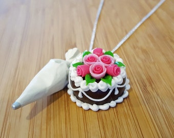 Cake Necklace & Piping Bag - Food Jewelry - Cake Arist Necklace