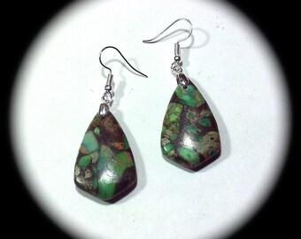 Green Sea Sediment Jasper & Pyrite Green Sea Sediment Jasper  Pyrite Long Dangle Fashion Earrings for Every Day Wear boho gypsy native