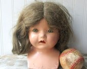 Vintage composition doll head girl doll head with shoulders cloth body type for projects creepy or Halloween decor or art project L2