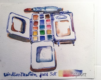 Original watercolor of a Winsor Newton Field set paintbox.