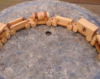 SALE! Wooden Train set 6 car Handmade toy oak and mahogany Heirloom Quality  Beautifully hand finished. SALE 20 off!