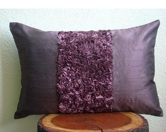 15% HOLIDAY SALE Decorative Oblong / Lumbar Rectangle Throw Pillow Covers Accent Pillow Couch Bed Toss 12x16 Plum Silk Pillows Ribbon Embroi