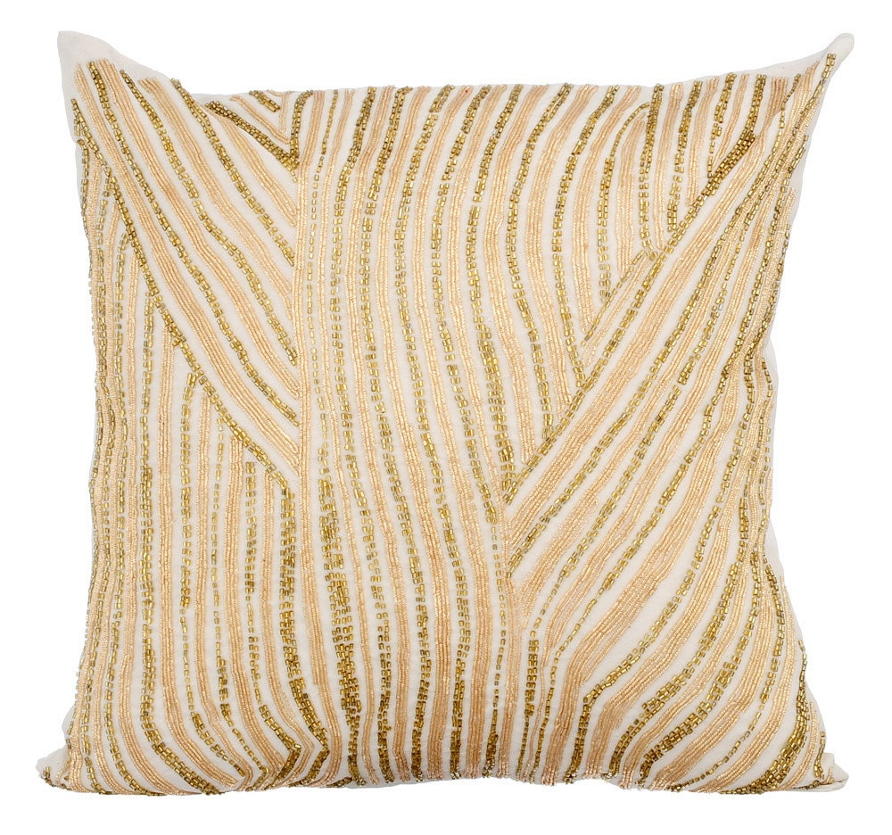 Luxury Gold Throw Pillows Cover 16x16 Ivory Silk