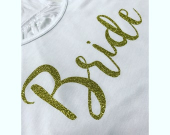 Cute Glitter Gold BRIDE Tank top Bachelorette Party Custom Color