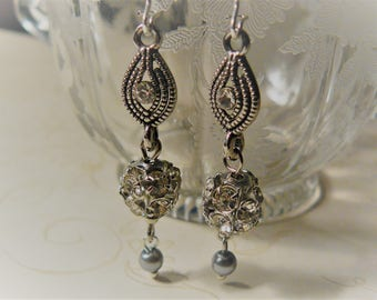 Rhinestone Drop Earrings, Sparkly Earrings, Handmade Earrings, Ready to Ship, Unique Handmade, A Gift for Mom, Graduation, Sweet Sixteen