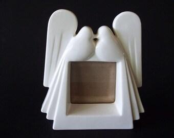Fitz & Floyd White Dove Love Bird Photo Frame, Art Deco Style Ceramic, Japan 1970s-1980s