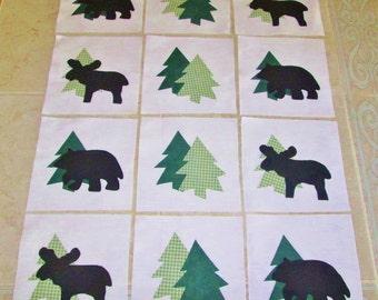 "Set of 12  Lodge Cabin Moose, Bear, Pine Tree   6"" x 6""  Cotton Quilt Blocks"