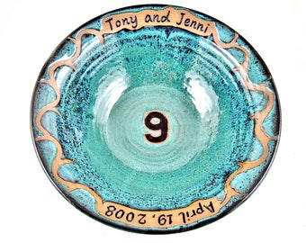 Personalized 9th Wedding Anniversary gift, Teal blue Pottery Bowl Engraved with Names & Date for Ninth Anniversary Gift Idea