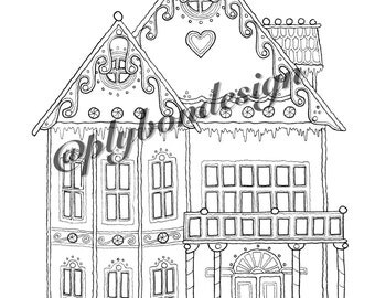 Gingerbread House Coloring Page - Digital Download