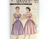 HOLIDAY SALE 1950s Vintage Dress Pattern Button Front Belted with Dress Full Skirt Deep Curved Neckline / Advance 8291 / Size 12