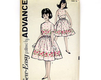 Sub-Teen Dress and Jacket Pattern / Full Skirt Dress and Cropped Top / 1960 Vintage Pattern / UNCUT Advance 2784 / Size 8s or 12s
