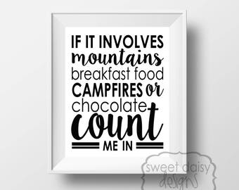 Camping, Camping Sign, Quotes, Digital File, PRINTABLE, Gifts for Men, Mountains, Printable Artwork, Typography, Cabin Decor, Exploring