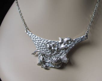 Scottish thistle necklace Scottish wedding necklace hand hammered silver necklace