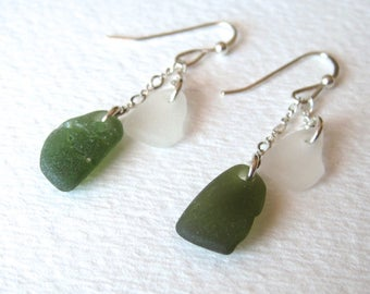Sea-Glass-Earrings, Olive Green and White, Double Drop, Sterling Silver