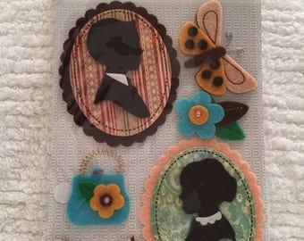 Wool Felt, Stickers, Wool Die Cuts, Felt Die Cuts, Scrapbooking, Wool Crafting Supplies, Silouhette Cameo, Butterfly, Purse, Shoe, Flower