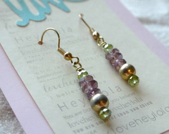 Purple and Green Gold Dangle Earrings