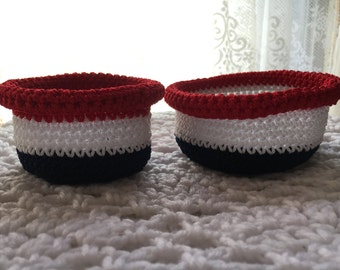 Patriotic baskets, American crochet baskets, Small baskets, Red white and blue decor, Patriotic decor