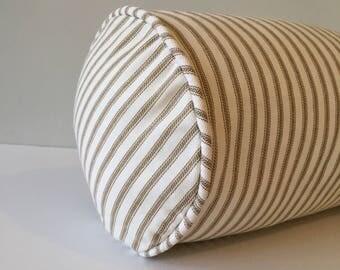 Brown Ticking Bolster Pillow