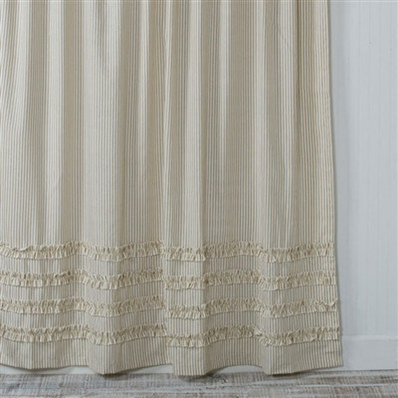 Ticking Stripe Ruffle Shower Curtain Brown 72x72 Or Extra Long