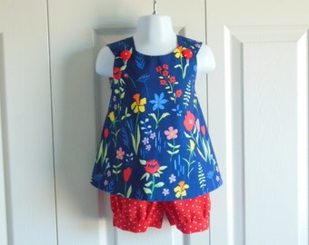 REVERSIBLE Cross Back Pinafore Top and Bloomer Set for baby or toddler - 3 mos to 5 - Blues and Reds Floral and Dots - Sommer collection