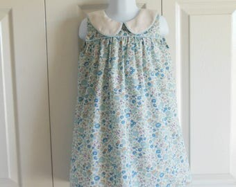 "Girls Classic sleeveless peter pan collar summer sundress DRESS - ""Olivia"" - size 12m to 7 - Classic Collection"