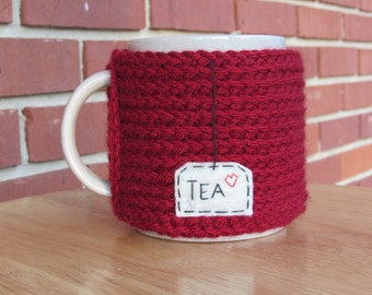Knitted tea mug cozy tea cup cozy in cranberry