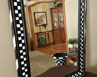 Whimsical painted mirror, painted wall mirror,  Black and white checkered wall mirror