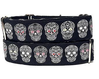 "Martingale Dog Collar 1.5"" wide DAY OF the DEAD, black, Safety Collar, Greyhound Collar, Sighthound Collar, Adjustable, Training"