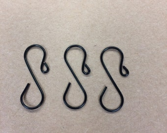 "Handmade Mini Black Ornament Hooks, set of 40 (1"" long)"