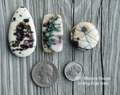 Organic Abstracts ....  glass cabochons ... artsy, handmade glass designer cabochons by Mikelene Growing Edge Glass