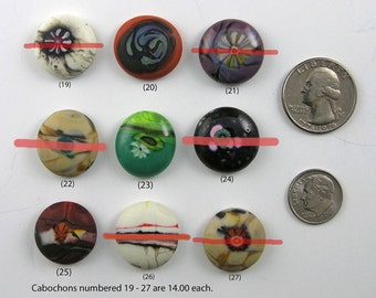 Glass Mini Cabochons #19-27  .... (1) glass CABOCHON handmade organic lampwork jewelry designer cabs SRA