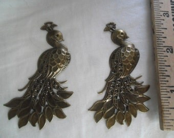 Pair of Antique gold color Peacock findings, make earrings and more