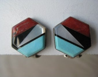 Zuni Coral Onyx MOP Turquoise Sterling Earrings Clip Vintage 925 Southwest