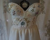 Custom Meadow Bridal Bustier for Megan... hand embroider dress whimsical gown boho bohemian separates unique corset