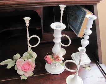 Wow...lowered price...Set 5 Brass Candle Holders, Candle Sticks, White candleholders,