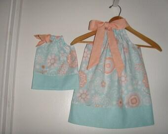 Doll and me SALE 10% off code is tiljan dresses aqua coral floral  Pillowcase dress   size  12 months , 2t, 3t, 4t, 5t. 6.7.8.10.12