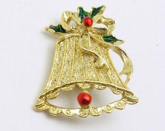 Vintage Christmas Bell Brooch Enamel Jewelry Gerrys P7516
