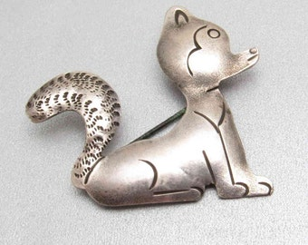 Vintage Sterling Brooch Skunk Animal Jewelry P7537