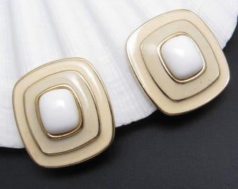 Cream Enamel Earrings Vintage Trifari Jewelry E7722