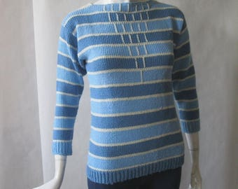 MOVING 4 GRADSCHOOL SALE 1960's striped sweater, light blue, periwinkle, and cream with geometric pattern details, with 3/4 sleeves, small