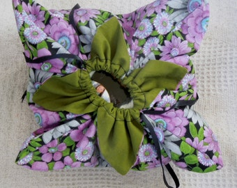 Lotus Bag, Origami Bag  Project Tote, Sock Tote-Purple Posies